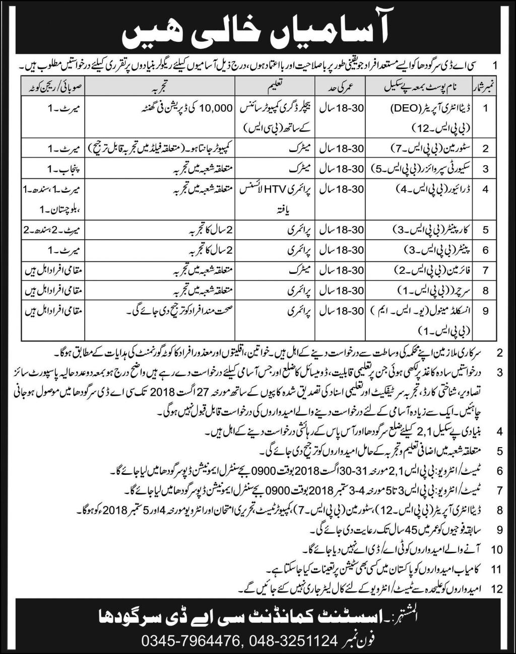 Pakistan Army Jobs at Central Ammunition Depot CAD Sargodha August 2018