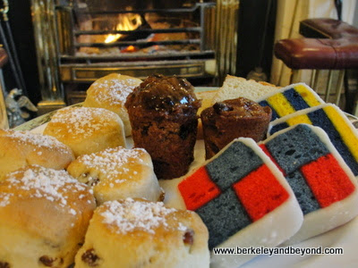Battenberg cake and scones at Art Tea at The Merrion Hotel in Dublin, Ireland