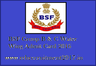 BSF Water Wing Admit Card 2016