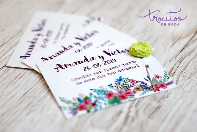 Tarjeta de agradecimiento para bodas Modelo Tropic - Trocitos de Boda