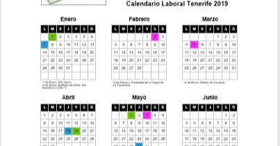 Calendario Laboral 2020 Santa Cruz De Tenerife.Comite Tenerife Calendario Laboral 2019 Tenerife