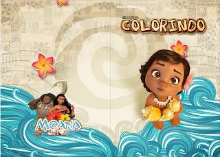 Imprimible carátula de libro para colorear de Moana Bebé.