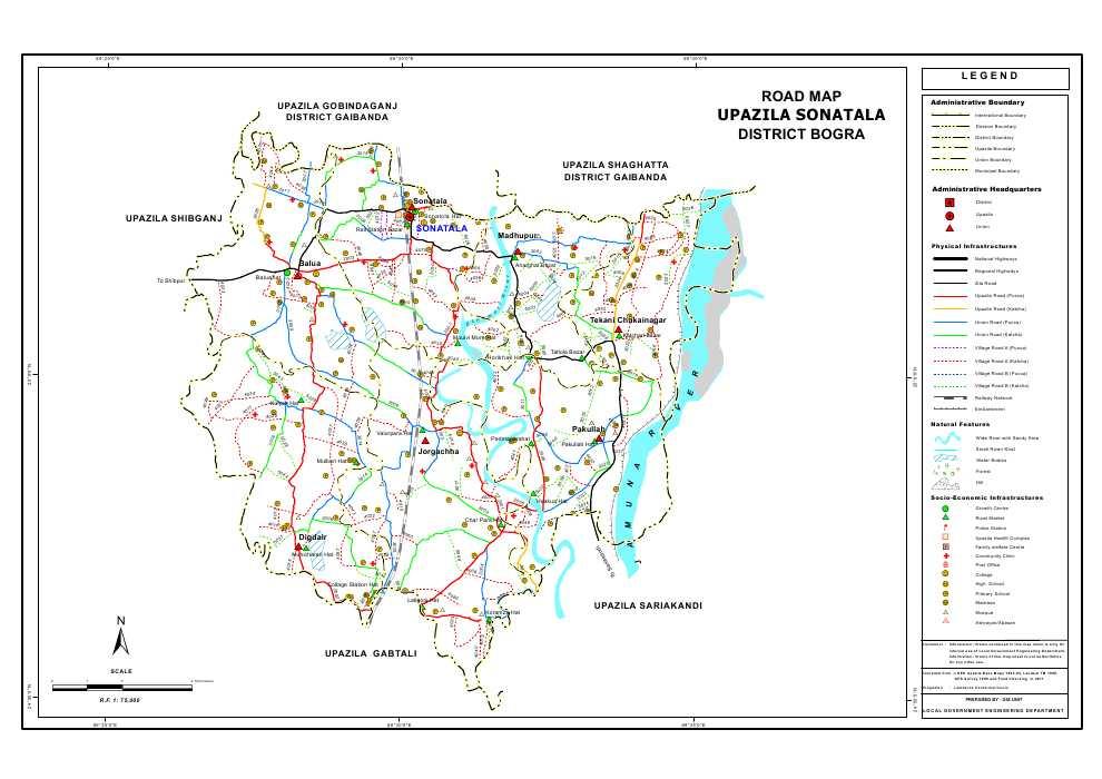 Sonatola Upazila Road Map Bogra District Bangladesh