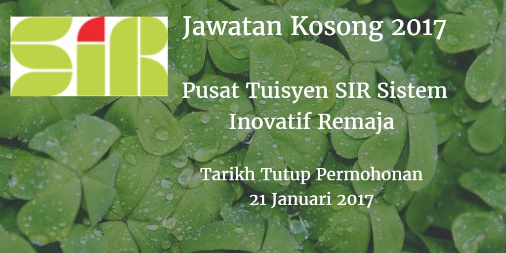 Jawatan Kosong Pusat Tuisyen SIR Sistem Inovatif Remaja 21 Januari 2017