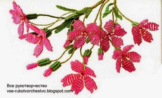 Смолевка или силена - садовый цветок из бисера. Схемы