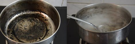 cleaning burnt pots and pans with baking soda