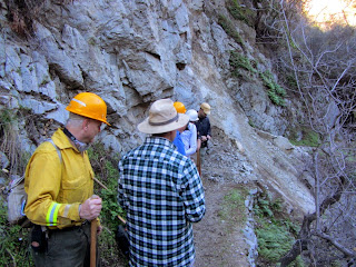 Trailbuilders arrive at the slide blocking Fish Canyon Trail, Angeles National Forest