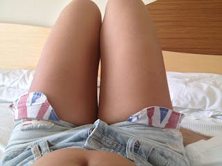 Shorts and legs sunbathing