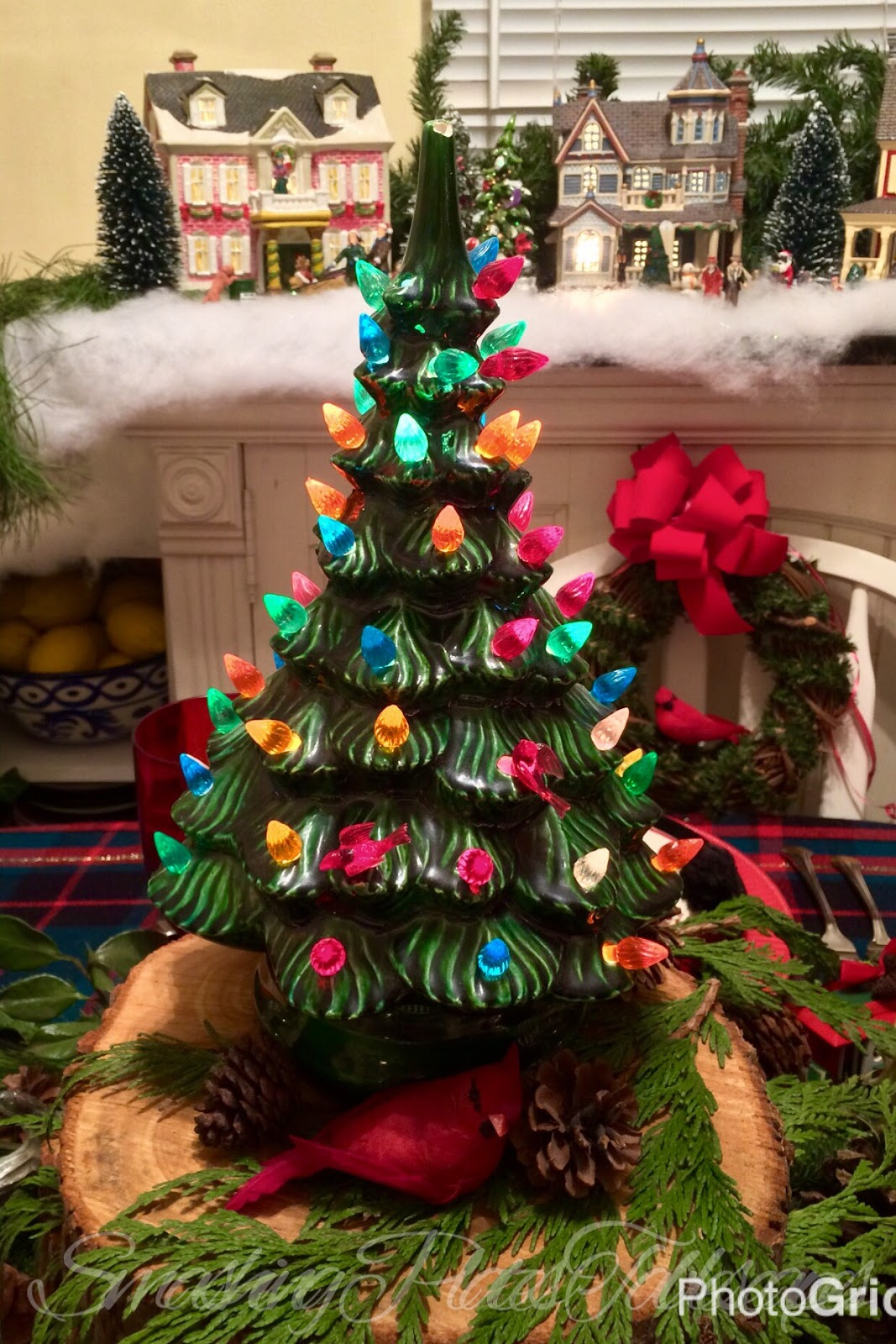 she made several large table top ceramic trees for family members and this smaller one for me its the perfect size for a tablescape and i enjoy decorating - Christmas Tree For Me