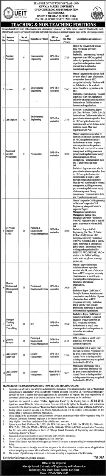 Khwaja Fareed Unviersity of Engineering & Information Technology (KFUEIT) Jobs 2019