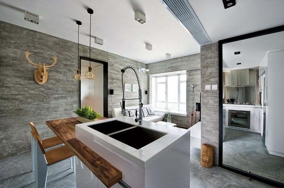 Interior de una casa moderna en gris for Decoracion interior de casas minimalistas