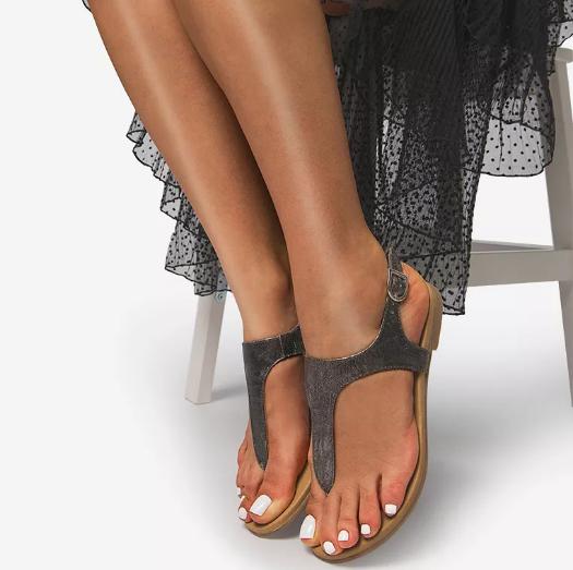 Sandale negre cu talpa joasa ieftine de vara pentru femei