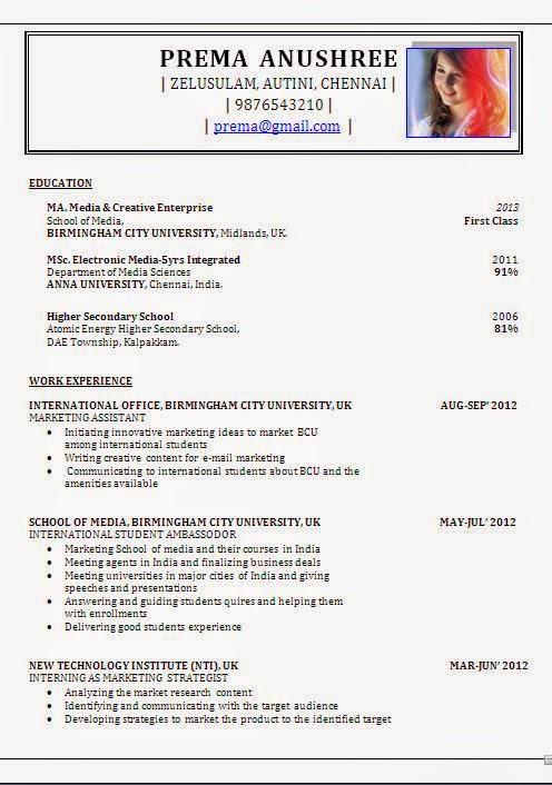 Cv Format For Msc Fresher - Resume Examples | Resume Template
