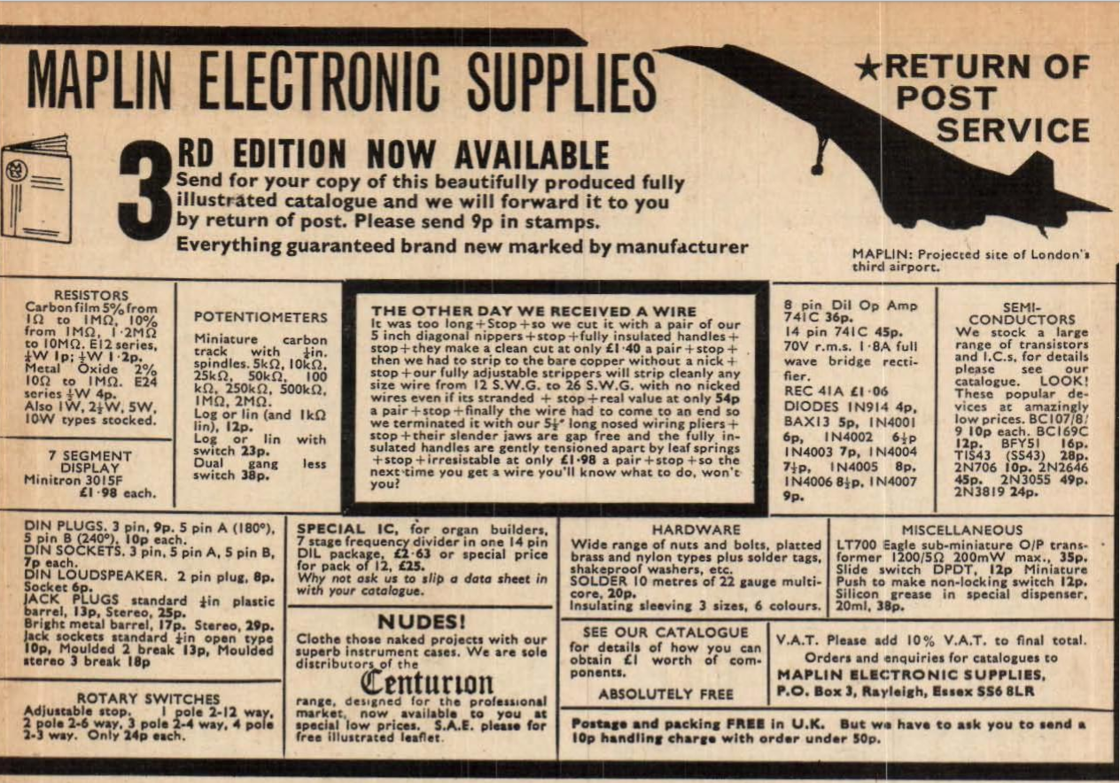 Where would you get electrical bits? Maplin