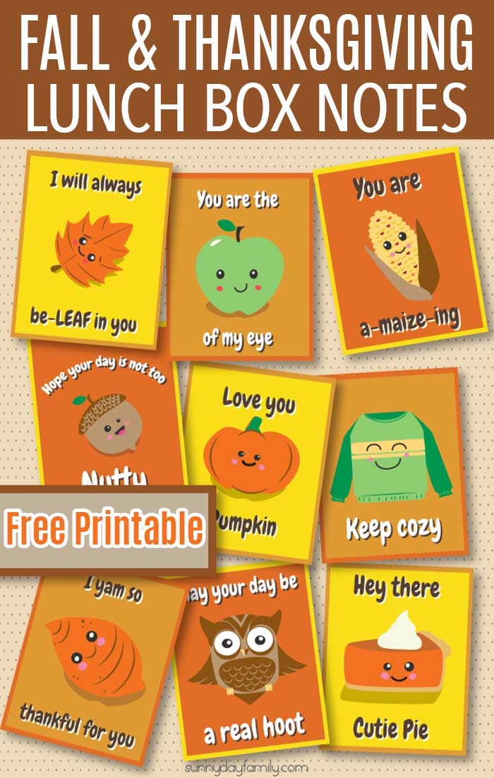 Adorable free printable Thanksgiving lunch box notes - perfect for Fall too! #thanksgiving #thanksgivingforkids #lunchboxnotes #freeprintables