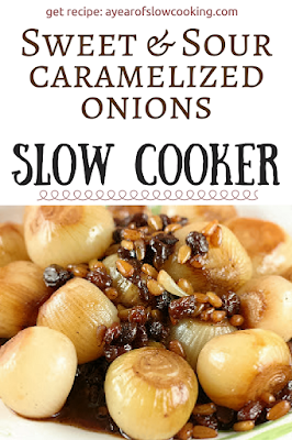 Sweet and Sour Caramelized onions in the crockpot slow cooker. Great recipe for your Holiday table.