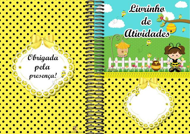 Carátula libro para colorear de Nena Disfrazada de Abejita