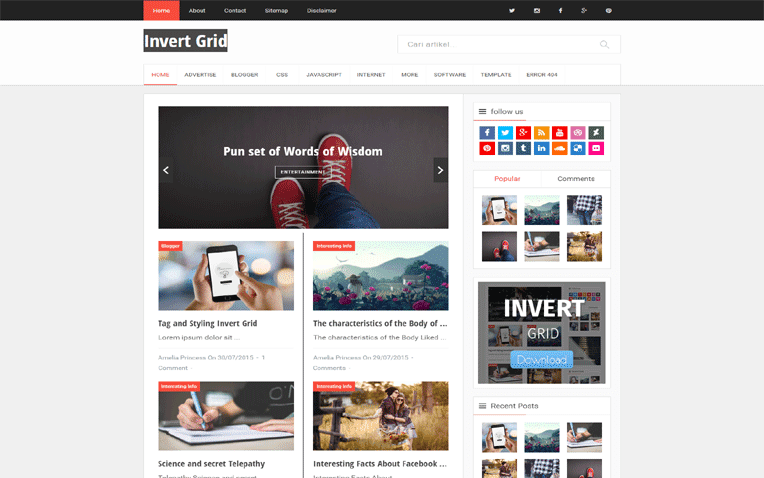 Invert Grid  Free Blogger Template