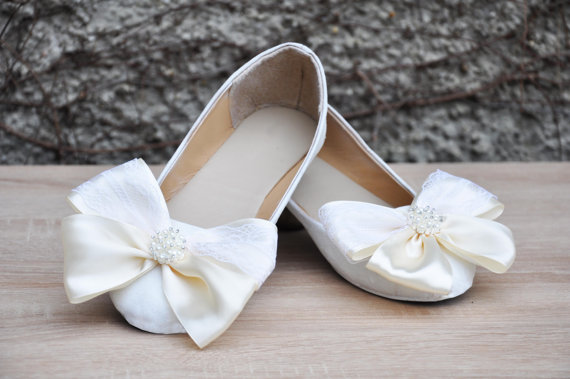 Cutest Flat Bows Ivory Bridal Shoes Etsy