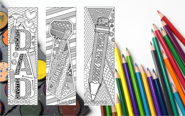Fathers Day Coloring Bookmarks
