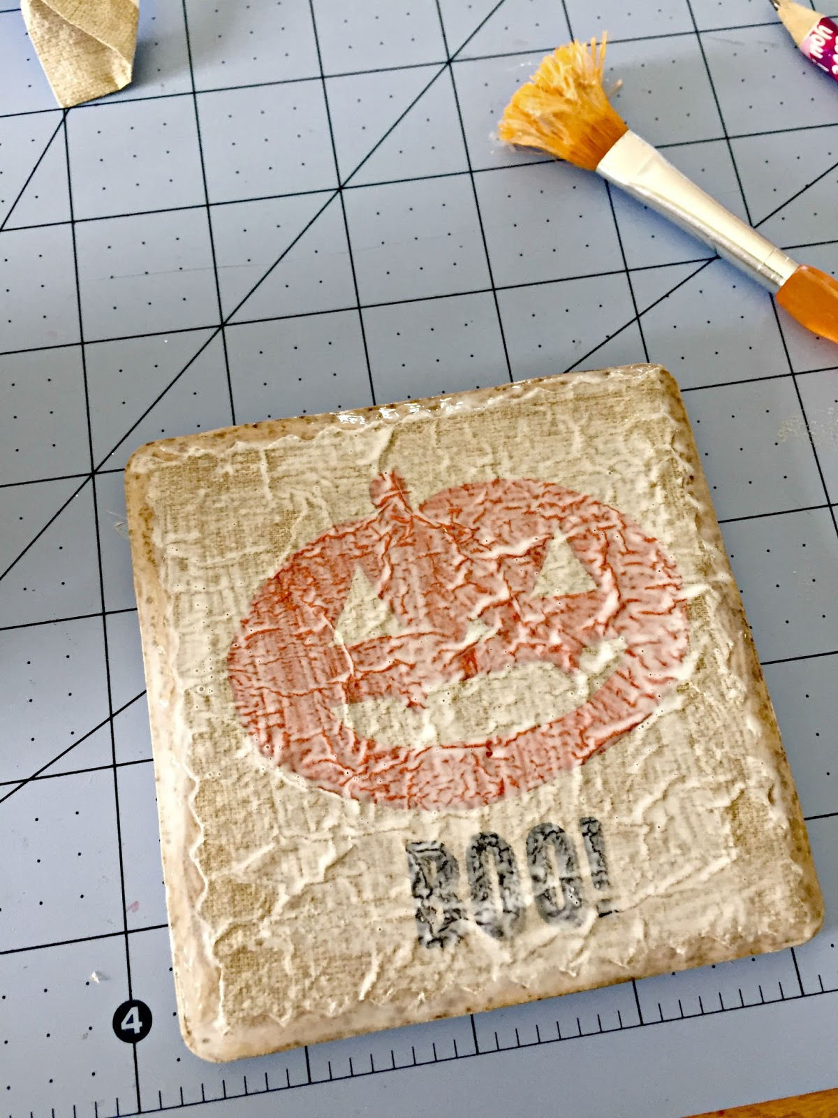 pumpkin tile coasters