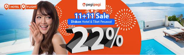 Promo Tiket Murah Meriah PEGIPEGI 11+11 SALE diskon 22%