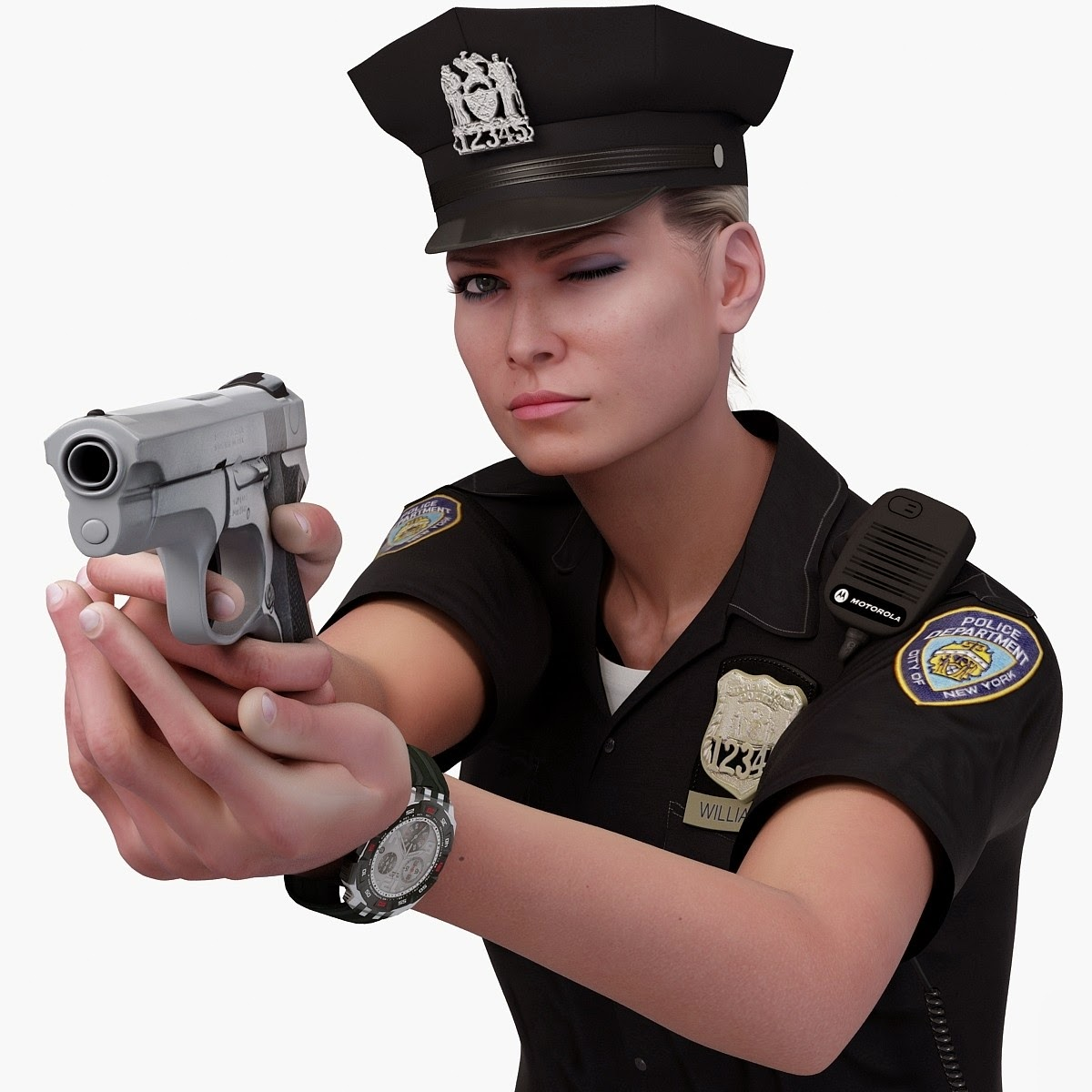3D ART Reactor: 3D Model Police Officer White Female