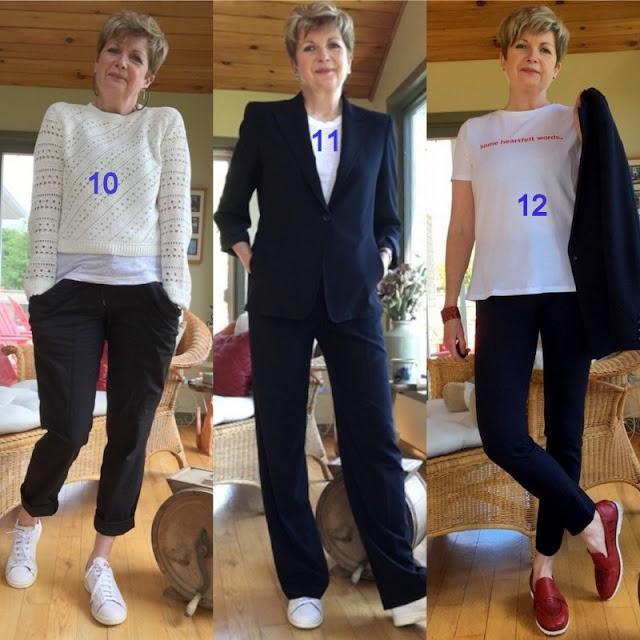 three shots of woman in various summer tops and suits