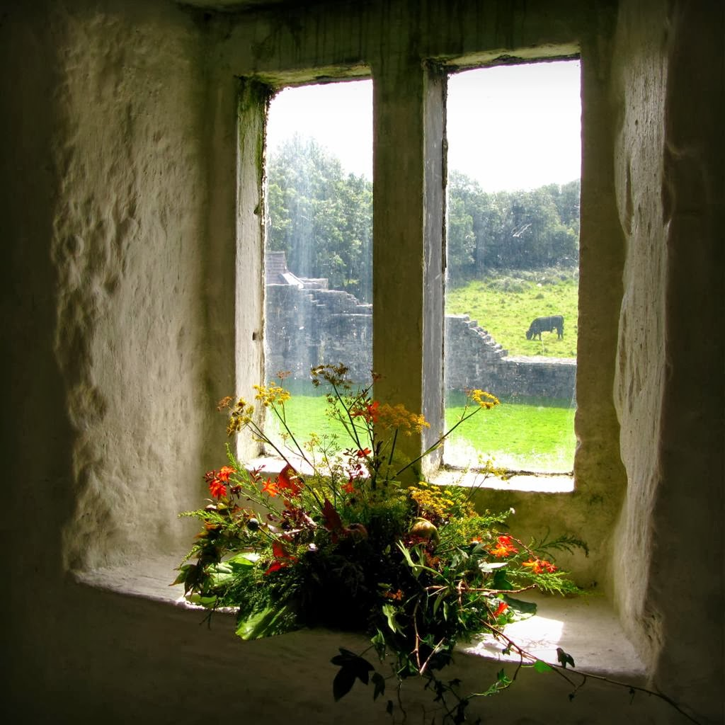 looking out from one of the windows in AUGHNANURE CASTLE, Oughterard, Co Galway, Ireland