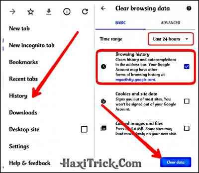Delete Google Chrome Browsing History in Hindi