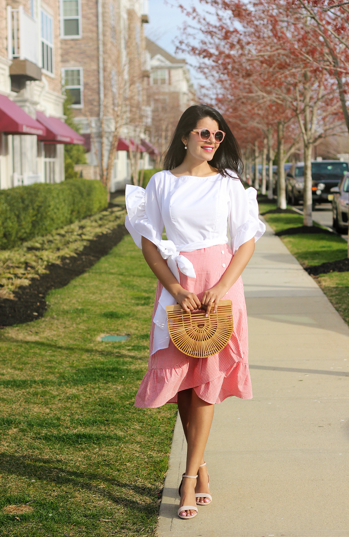 Gingham Ruffle Dress For Spring Summer, Gingham Dress, eShakti discount coupon code, eShakti Gingham Dress, Cult Gaia Bag, Ruffle Sleeve Dress