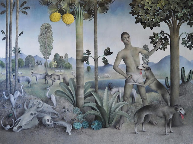 "arte contemporáneo, pinturas al óleo, by James Mortimer, ""Goat Landscape"", 2017."