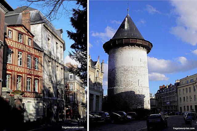 Rouen, França: fachadas em enxaimel e a Torre Joana D'Arc