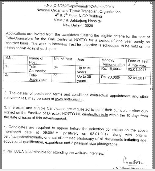 notto-tele-counsellor-Recruitment-advt-2017