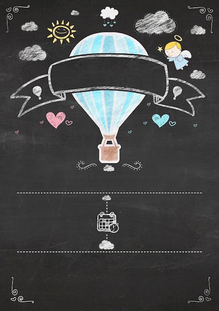 Hot Air Balloon for Boy in Chalkboard Background: Free Printable Infographic Invitation.