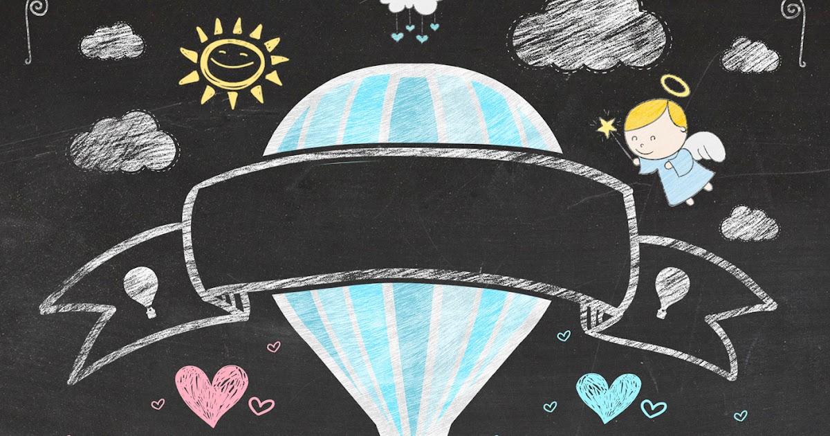 globo aerost u00e1tico para ni u00f1o en fondo pizarra  invitaci u00f3n tipo infograf u00eda para imprimir gratis