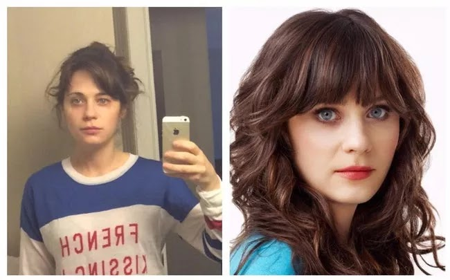 24 Pictures Of Famous Women With And Without Makeup - Zooey Deschanel