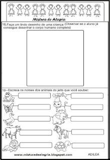Avaliação diagnóstica para 1º ano alfabetização