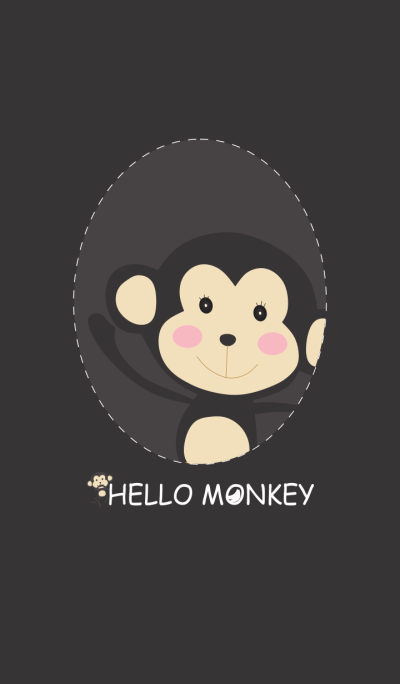 Simple Black Hello Monkey
