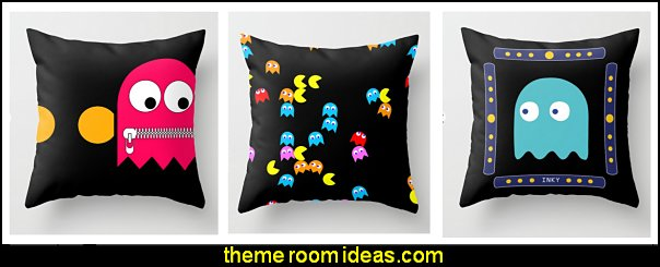 pacman throw pillows pacman decor  Gamer bedroom - Video game room decor - gamer bedroom furniture - gamer wall decal stickers - Super Mario Brothers Wall Stickers - gamer bedding - Super Mario Brothers bedding - Pacman decor -  Retro Arcade bedrooms - 80s video gamers - gamer throw pllows