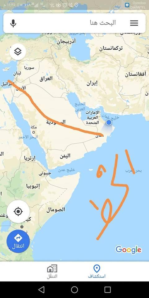 هذا ما كان يشير اليه نتنياهو على الخريطة في سلطنة عمان