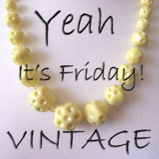yellow bead vintage necklace 1950s