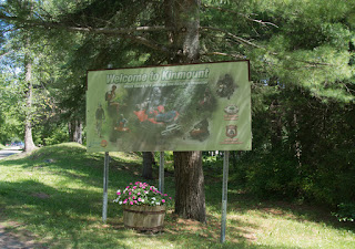 Sign at the edge of the historic park in Kinmount, Ontario, which is also a snowmobile trail.