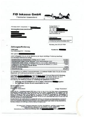 FID Inkasso GmbH Zahlungsaufforderung | 20.06.2017