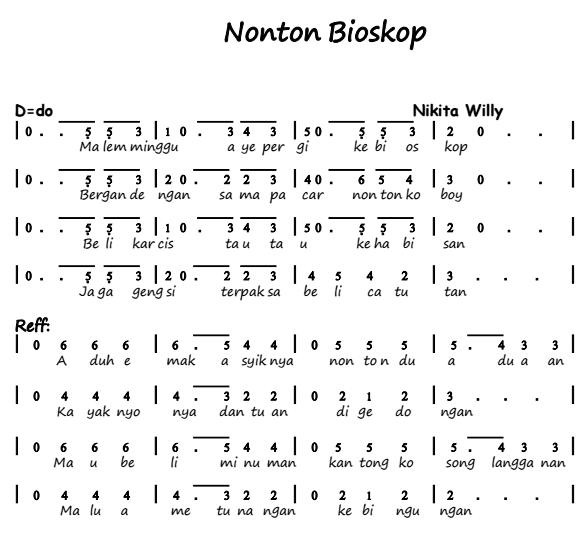 Not Angka Lagu Nikita Willy Nonton Bioskop