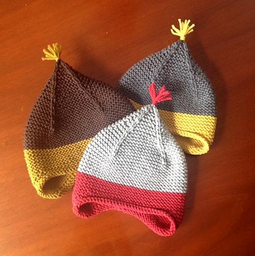 Garter Ear Flap Hat  free knitting pattern