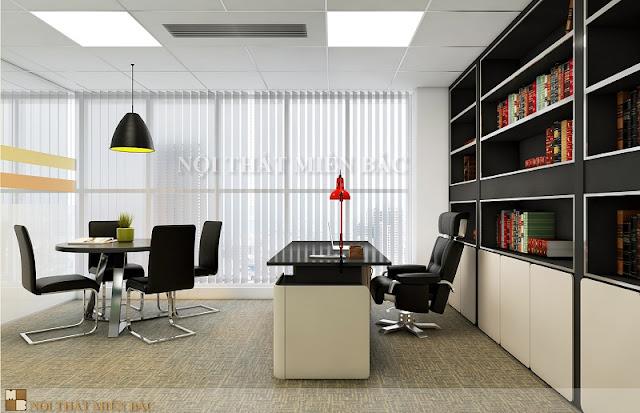 Mẫu thiết kế phòng giám đốc gây ấn tượng với gam màu đen kết hợp với trắng