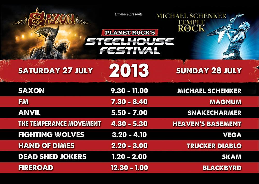 FM at Steelhouse Festival 27 July 2013 - stage times