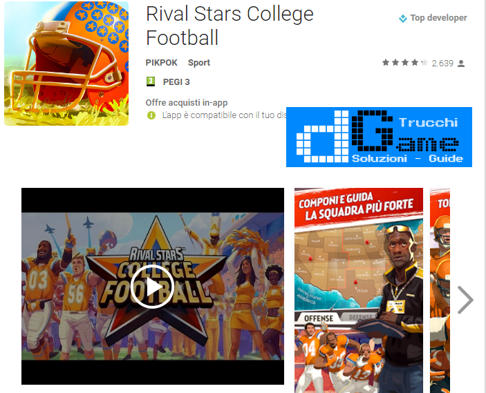 Trucchi Rival Stars College Football Mod Apk Android v1.0.3