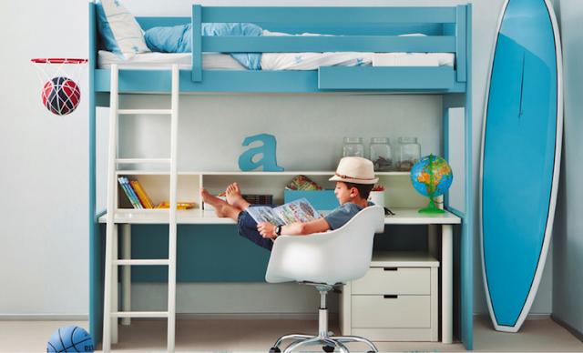 habitación juvenil en azul